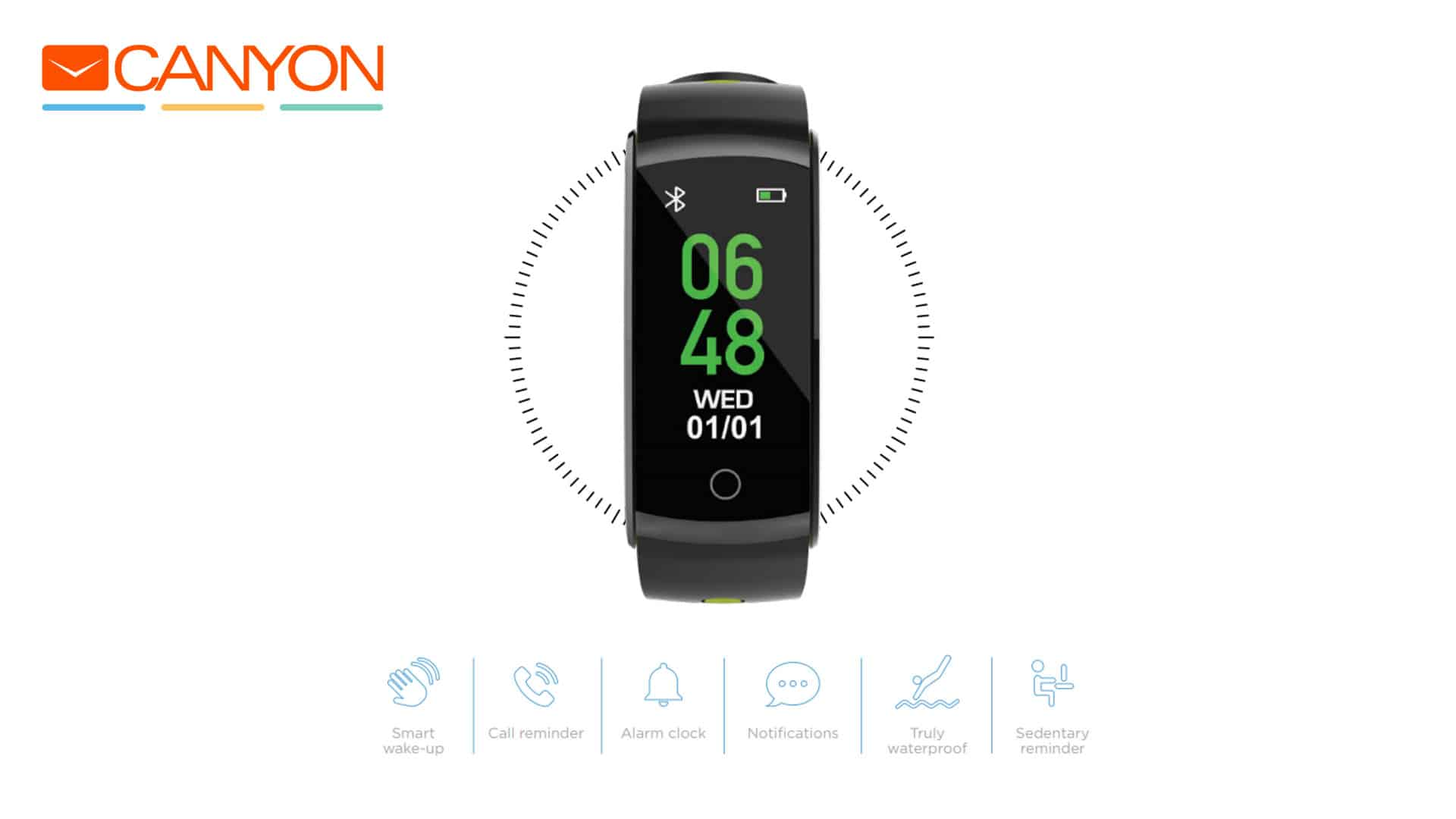 Canyon Colourful Fitness Band For Sports Fans Black & Green