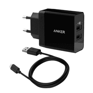 Anker 24W 2-Port USB Charger Black & USB 3FT