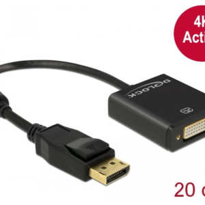 DELOCK DP (M) TO DVI (F) 4K ADAP – BLACK