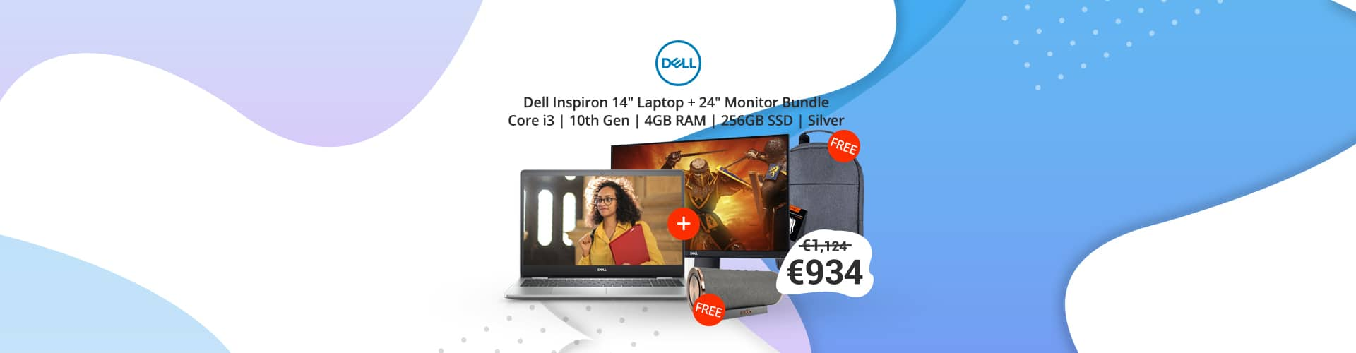 Dell Inspiron 14 inch i3 5490 Laptop + Dell 24 inch Monitor P2419H Bundle