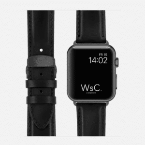 WsC Defiant Apple Watch Leather Strap | Black | Space Grey | 44mm