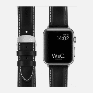 WsC Defiant Apple Watch Leather Strap | Black with White Stitching | Silver Aluminium | 44mm