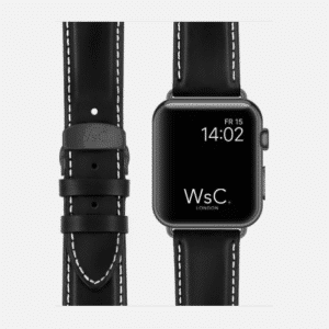 WsC Defiant Apple Watch Leather Strap | Black with White Stitching | Space Grey Aluminium | 44mm