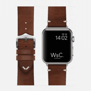 WsC Vengence Apple Watch Leather Strap | Light Brown | Silver Aluminium Aluminium | 44mm