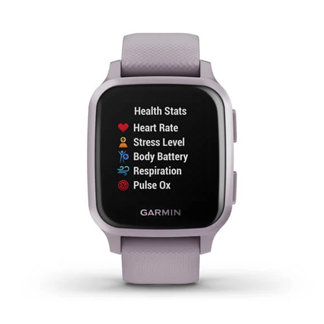 Garmin Venu® Sq | Metallic Orchid Aluminium Bezel with Orchid Case and Silicone Band