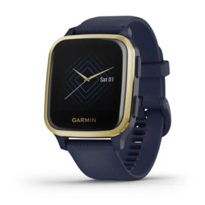 Garmin Venu® Sq | Music Edition | Light Gold Aluminium Bezel with Navy Case and Silicone Band