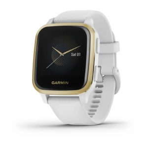 Garmin Venu® Sq | Light Gold Aluminium Bezel with White Case and Silicone Band